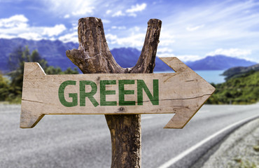 Green wooden sign with a street background
