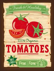 Vintage Design Organic Tomato Poster Vector