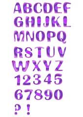Alphabet set designed in purple mosaic