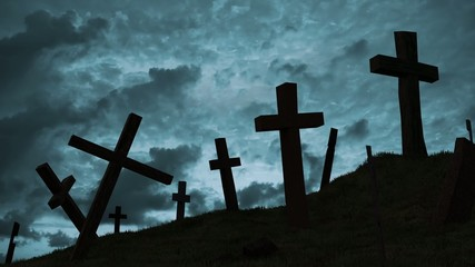 Crosses on a hill.