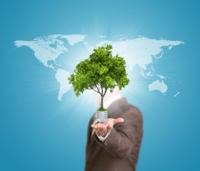 World map and man hold bulb with tree