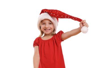 Mädchen mit Weihnachtsmütze