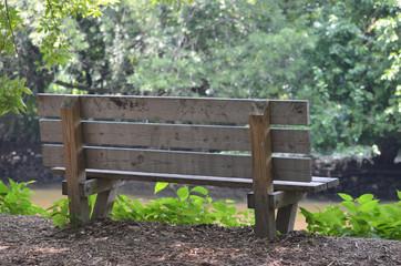 Bench along the path in John Heinz wildlife refuge