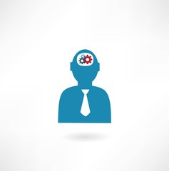 man with cogs in head icon