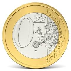 Null Euro Neunundneunzig Münze von vorne gesehen