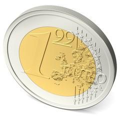 Ein Euro Neunundneunzig Münze von oben gesehen