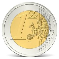 Ein Euro Neunundneunzig Münze von vorne gesehen