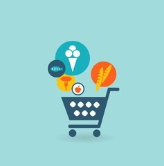 Shopping basket with foods, the composition of the icons