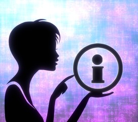 attactive girl silhouette with information