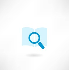 book with a magnifying glass icon
