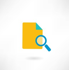 paper under a magnifying glass icon
