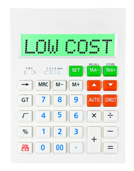 Calculator with LOW COST on display isolated on white background