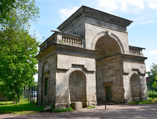 Birch gate in Palace park of Gatchina