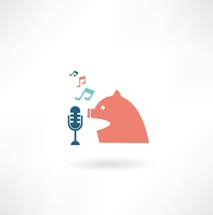 singer sings into the microphone icon