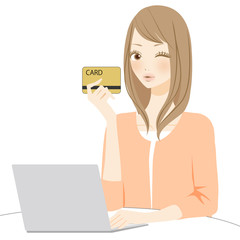 PC操作 カードを持つ女性