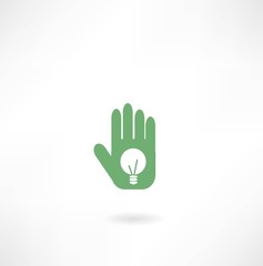 Hand with light bulb icon