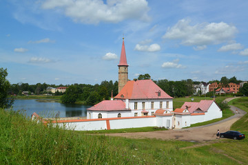 View of Prioratsky Palace and the Black lake in Gatchina