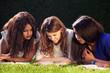 Three University Friends Studying