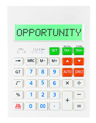 Calculator with OPPORTUNITY isolated on display on white