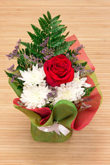Beautiful floral bouquet: rose, chrysanthemums and fern