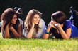 Young Girls Relaxing Outdoors