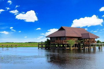 Landscape of wooden house in a lake and blue sky background, Tha