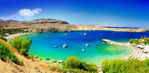 Greek holidays - beautiful beaches of Rhodes island, Lindos bay