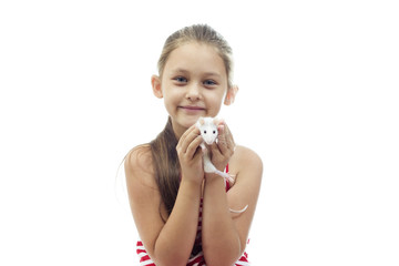 kid holding a rat on a white background isolated