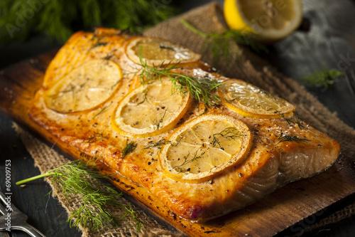 Fototapeta Homemade Grilled Salmon on a Cedar Plank