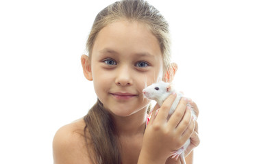 children and pets on a white background isolated