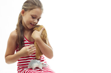 child and rodents on a white background isolated