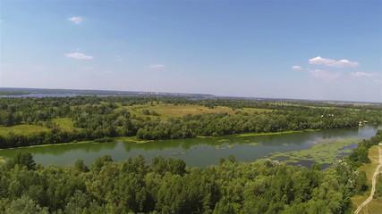 beautiful river in  summer. Aerial