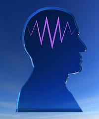 Silhouette testa pensiero onda cervello cielo