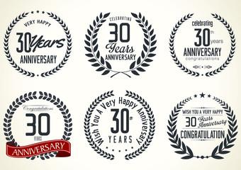 Anniversary laurel wreath retro labels, 30 years