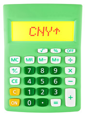 Calculator with CNY on display on white background