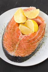 fresh salmon on plate