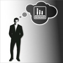 businessman thinks on statistics