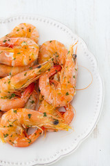 shrimps in white plate
