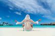 Yoga beautiful woman enjoying looking view of beach