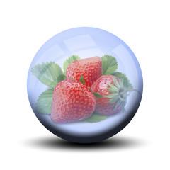 Fruit dans bulle : fraise
