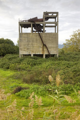 Old abandoned concrete structure overtaken by nature