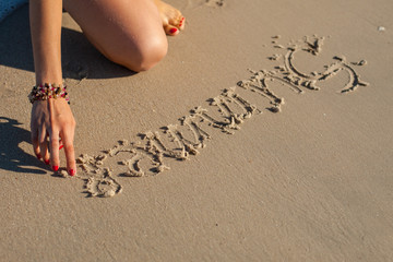 "inscription on the sand ""Summer"""