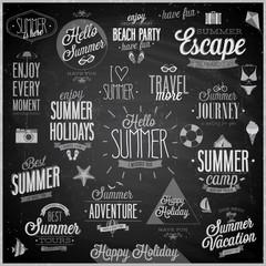 Summer and Travel set - labels and emblems - Chalkboard.
