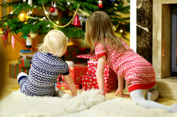 Two sisters looking for gifts under a tree