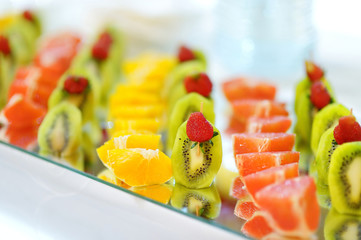 Plate full of sliced fresh fruits