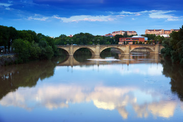 bridge over Ebro  in summer evening. Logrono
