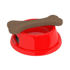 Dog food in red bowl isolated on white