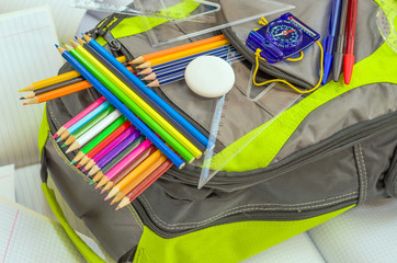 School bag, pencils, pens, eraser, school, rulers, books