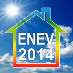 Haus mit Verlauf Energieeffizienzklassen und ENEV 2014