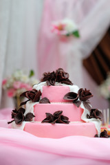 Delicious pink wedding cake
